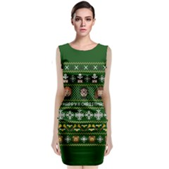 Merry Nerdmas! Ugly Christma Green Background Classic Sleeveless Midi Dress
