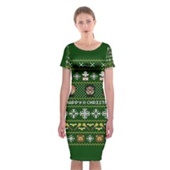Merry Nerdmas! Ugly Christma Green Background Classic Short Sleeve Midi Dress