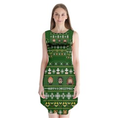 Merry Nerdmas! Ugly Christma Green Background Sleeveless Chiffon Dress