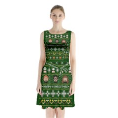 Merry Nerdmas! Ugly Christma Green Background Sleeveless Chiffon Waist Tie Dress