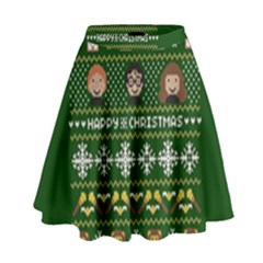 Merry Nerdmas! Ugly Christma Green Background High Waist Skirt