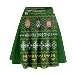 Merry Nerdmas! Ugly Christma Green Background High Waist Skirt