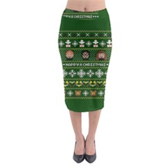 Merry Nerdmas! Ugly Christma Green Background Midi Pencil Skirt