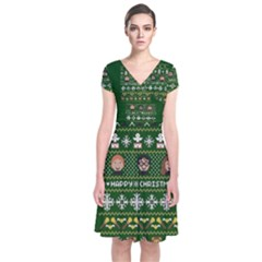 Merry Nerdmas! Ugly Christma Green Background Short Sleeve Front Wrap Dress