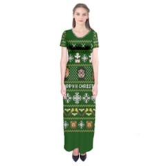 Merry Nerdmas! Ugly Christma Green Background Short Sleeve Maxi Dress