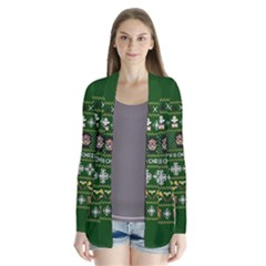 Merry Nerdmas! Ugly Christma Green Background Drape Collar Cardigan