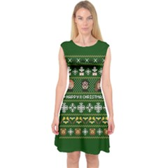 Merry Nerdmas! Ugly Christma Green Background Capsleeve Midi Dress