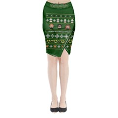 Merry Nerdmas! Ugly Christma Green Background Midi Wrap Pencil Skirt