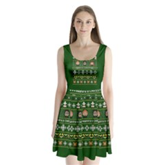 Merry Nerdmas! Ugly Christma Green Background Split Back Mini Dress