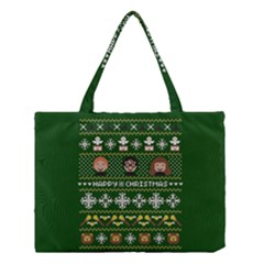 Merry Nerdmas! Ugly Christma Green Background Medium Tote Bag