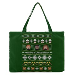 Merry Nerdmas! Ugly Christma Green Background Medium Zipper Tote Bag