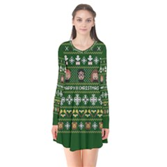 Merry Nerdmas! Ugly Christma Green Background Flare Dress