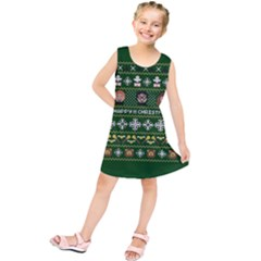 Merry Nerdmas! Ugly Christma Green Background Kids  Tunic Dress