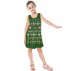 Merry Nerdmas! Ugly Christma Green Background Kids  Sleeveless Dress