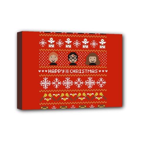 Merry Nerdmas! Ugly Christma Red Background Mini Canvas 7  x 5