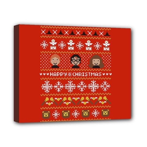 Merry Nerdmas! Ugly Christma Red Background Canvas 10  x 8
