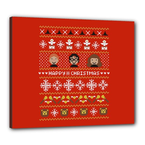 Merry Nerdmas! Ugly Christma Red Background Canvas 24  x 20
