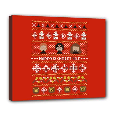 Merry Nerdmas! Ugly Christma Red Background Deluxe Canvas 24  x 20