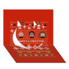 Merry Nerdmas! Ugly Christma Red Background Heart 3D Greeting Card (7x5)