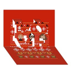 Merry Nerdmas! Ugly Christma Red Background Love 3d Greeting Card (7x5)