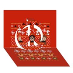 Merry Nerdmas! Ugly Christma Red Background Peace Sign 3d Greeting Card (7x5)