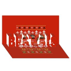 Merry Nerdmas! Ugly Christma Red Background Best Sis 3d Greeting Card (8x4)