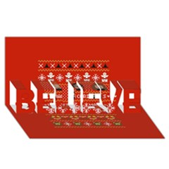 Merry Nerdmas! Ugly Christma Red Background Believe 3d Greeting Card (8x4)