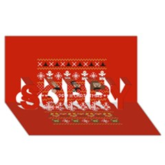 Merry Nerdmas! Ugly Christma Red Background Sorry 3d Greeting Card (8x4)