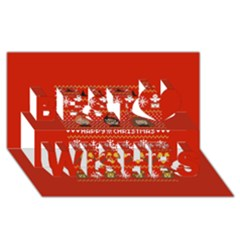 Merry Nerdmas! Ugly Christma Red Background Best Wish 3D Greeting Card (8x4)