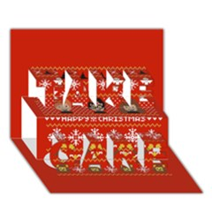 Merry Nerdmas! Ugly Christma Red Background Take Care 3d Greeting Card (7x5)