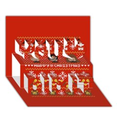 Merry Nerdmas! Ugly Christma Red Background You Did It 3d Greeting Card (7x5)