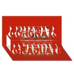 Merry Nerdmas! Ugly Christma Red Background Congrats Graduate 3D Greeting Card (8x4)