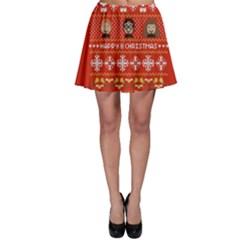 Merry Nerdmas! Ugly Christma Red Background Skater Skirt
