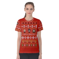 Merry Nerdmas! Ugly Christma Red Background Women s Cotton Tee