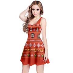 Merry Nerdmas! Ugly Christma Red Background Reversible Sleeveless Dress