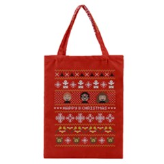 Merry Nerdmas! Ugly Christma Red Background Classic Tote Bag