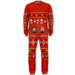 Merry Nerdmas! Ugly Christma Red Background OnePiece Jumpsuit (Men)