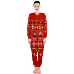 Merry Nerdmas! Ugly Christma Red Background OnePiece Jumpsuit (Ladies)