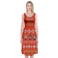 Merry Nerdmas! Ugly Christma Red Background Midi Sleeveless Dress