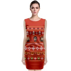 Merry Nerdmas! Ugly Christma Red Background Classic Sleeveless Midi Dress