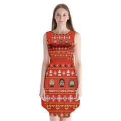 Merry Nerdmas! Ugly Christma Red Background Sleeveless Chiffon Dress