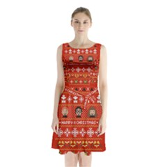 Merry Nerdmas! Ugly Christma Red Background Sleeveless Chiffon Waist Tie Dress