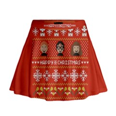 Merry Nerdmas! Ugly Christma Red Background Mini Flare Skirt