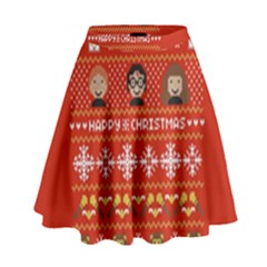 Merry Nerdmas! Ugly Christma Red Background High Waist Skirt
