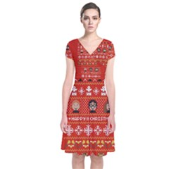 Merry Nerdmas! Ugly Christma Red Background Short Sleeve Front Wrap Dress