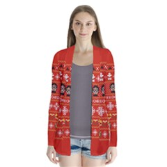 Merry Nerdmas! Ugly Christma Red Background Drape Collar Cardigan