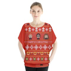 Merry Nerdmas! Ugly Christma Red Background Blouse