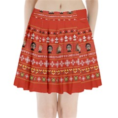 Merry Nerdmas! Ugly Christma Red Background Pleated Mini Skirt