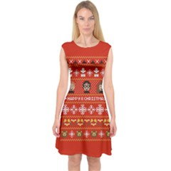 Merry Nerdmas! Ugly Christma Red Background Capsleeve Midi Dress