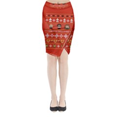 Merry Nerdmas! Ugly Christma Red Background Midi Wrap Pencil Skirt